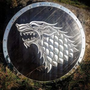 Solid Wood Direwolf Round Shield