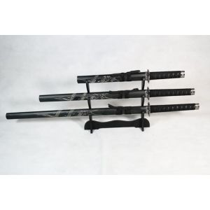 Set of 3 Carved Dragon Samurai Swords on Stand