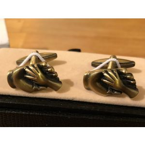 Cufflink Pair in Box Baby holding Dad's hand