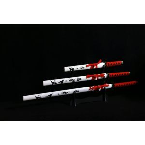 White with Red Handle and Black Writing 3 set