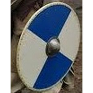 White and Blue Solid Wood Viking Shield