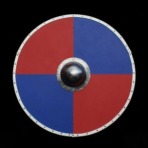 Red and Blue Solid Wood Viking Round Shield